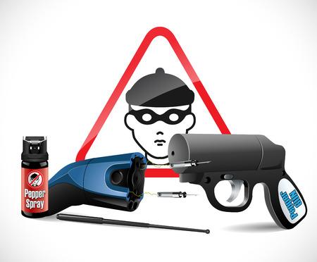 criminal defense: Self defense weapons - taser, pepper spray and pistol and criminal sign Illustration