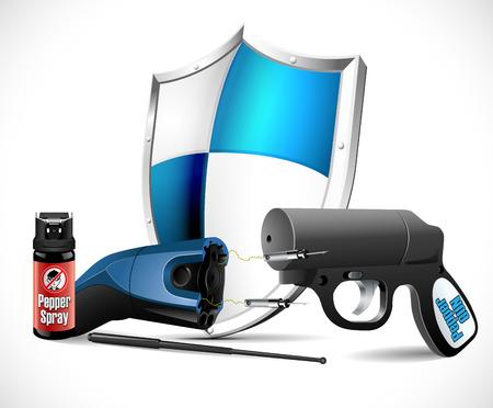 defensa personal: armas de defensa personal - taser, spray de pimienta y una pistola y el signo penal