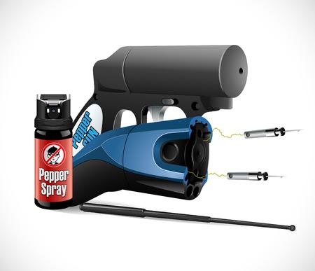 violator: Self defense weapons - taser, pepper spray and pistol and criminal sign Illustration