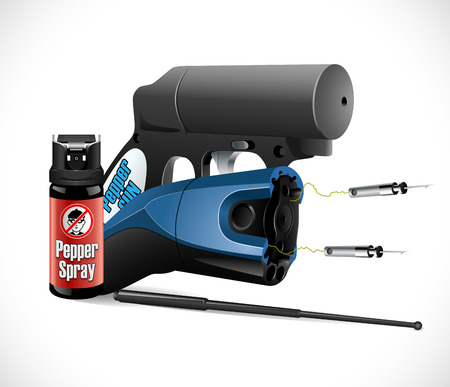 Self defense weapons - taser, pepper spray and pistol and criminal sign Illustration