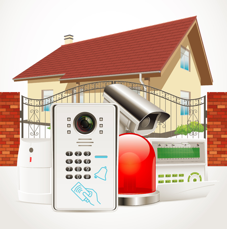 access control: Home access control system - Video door phone, alarm system, motion sensor, cctv camera Illustration