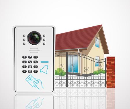 ホーム アクセス制御システム - ビデオ ドアホン  イラスト・ベクター素材