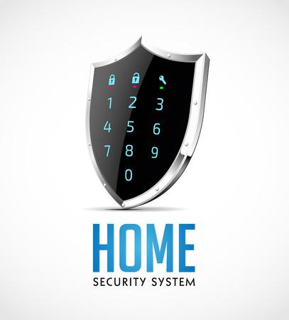 ホーム セキュリティ システム - 保護盾としてアクセス コント ローラー  イラスト・ベクター素材