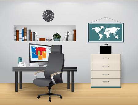 oficina en casa  Ilustración de vector