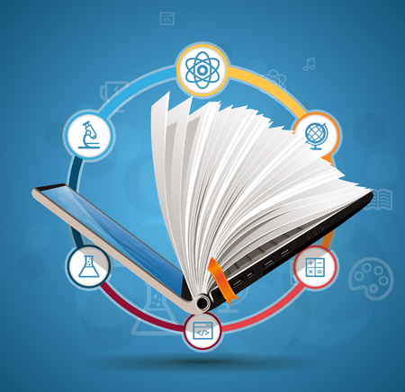 base: Elearning concept - online learning system - knowledge growth - information concept