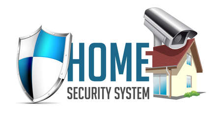 alarm system: Home security system icon Illustration