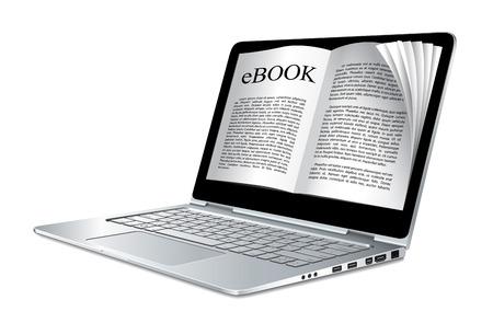 electronic book: Ebook concept - laptop as electronic book