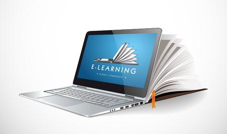 IT 通信・ E ラーニング - インターネット ネットワーク知識ベースとして  イラスト・ベクター素材