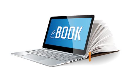 Ebook concept - ordinateur portable comme livre électronique Banque d'images - 58620479