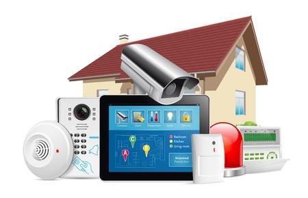 Sistema home concetto di sicurezza - rilevatore di movimento, sensore di gas, macchina fotografica cctv, sirena di allarme Vettoriali
