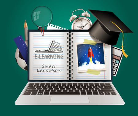E-learning - smart on-line education concept Çizim