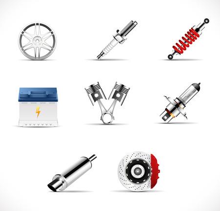 Car parts - brake, pistons, car light bulb, alloy wheels, spark plug, battery, absorber, car muffler