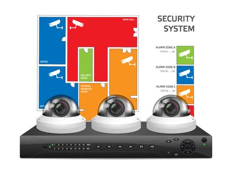 flauta dulce: cámara CCTV y DVR - Grabadora de vídeo digital - concepto de sistema de seguridad Vectores