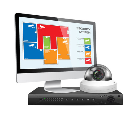 security room: CCTV camera and DVR - digital video recorder - security system concept