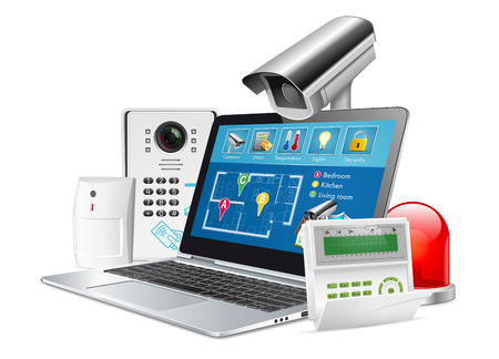 Access control concept - home security system Stock Illustratie