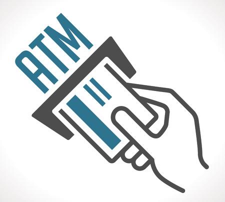 automatic transaction machine: ATM - automated teller machine Vectores