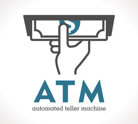 automated teller: ATM - automated teller machine Illustration