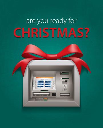 christmas concept: Christmas cash - ATM concept