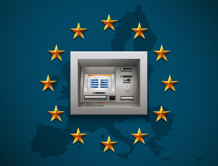 automatic teller machine bank: ATM - Automated teller machine on UE flag Illustration