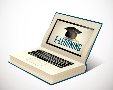 electronic book: Elearning - book as laptop  electronic book concept