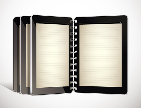 electronic tablet: Tablet as electronic book - concept Illustration