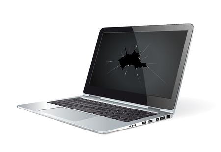 Damaged computer - monitor broken glass
