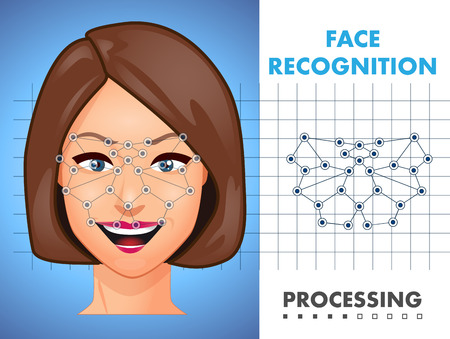 watchman: Face recognition - biometric security system concept Illustration