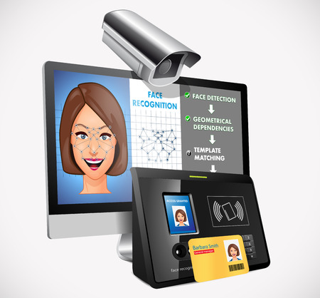 sentry: Face recognition - biometric security system concept Illustration