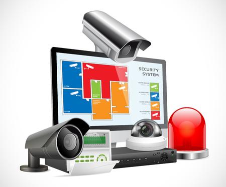 防犯カメラと DVR デジタル ビデオ レコーダーのセキュリティ システムの概念  イラスト・ベクター素材
