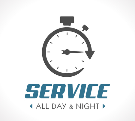 Logo - Stopwatch concept - all day and night - 247 service Vettoriali