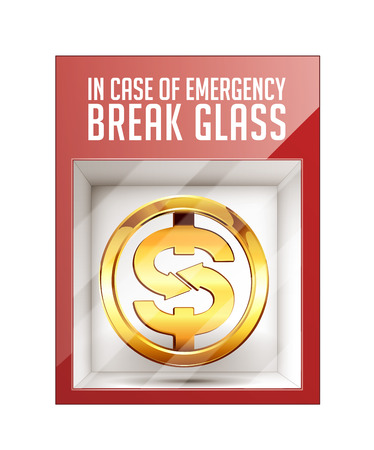In case of emergency break glass - dollar sign concept Illustration