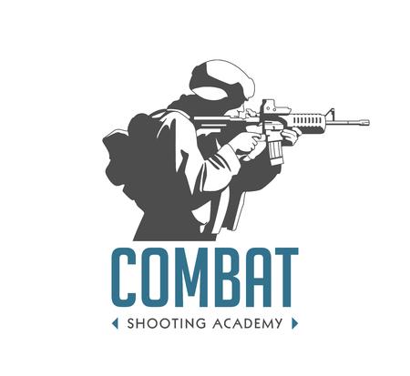 ロゴ - 自動ライフルを持った兵士 - 戦闘射撃演習のコンセプト
