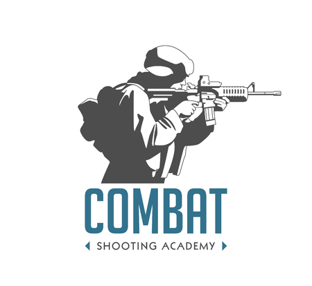 Logo - soldier with automatic rifle - combat shooting exercises concept Illustration