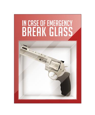 In case of emergency break glass - revolver concept Illustration