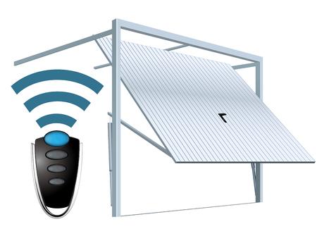 Automatic wireless garage door system - remote open Stock Illustratie