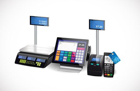 Cash register, printer and card payment terminal - retail equipment Stock fotó - 79328248
