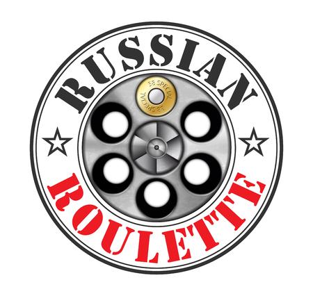 Revolver - russian roulette game - risk concept Illusztráció