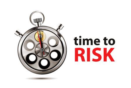 crime prevention: Revolver - russian roulette game - risk concept Illustration