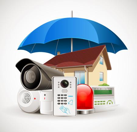 Sistema di sicurezza domestica - Sistema di controllo accessi - Casa protetta da ombrello Archivio Fotografico - 79663976