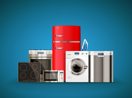 Kitchen and house appliances: microwave, washing machine, refrigerator, gas stove, dishwasher, iron.