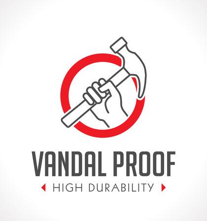 vandal: Vandal proof - Vandal resistant - High durability concept Illustration
