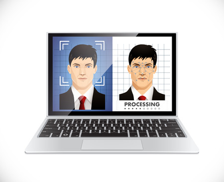 Gezichtsherkenningssysteem - Computer software concept Stock Illustratie
