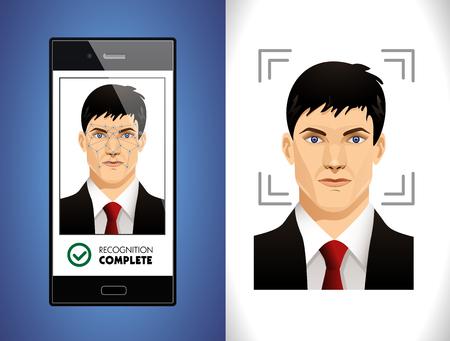 顔認識システム - コンピューター ソフトウェアの概念  イラスト・ベクター素材