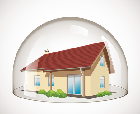 security monitor: Glass dome - House protection concept Illustration