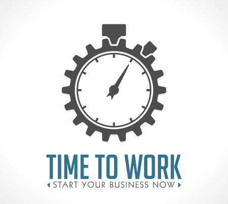 ロゴ - あなたのビジネスを今すぐ作業開始時間  イラスト・ベクター素材