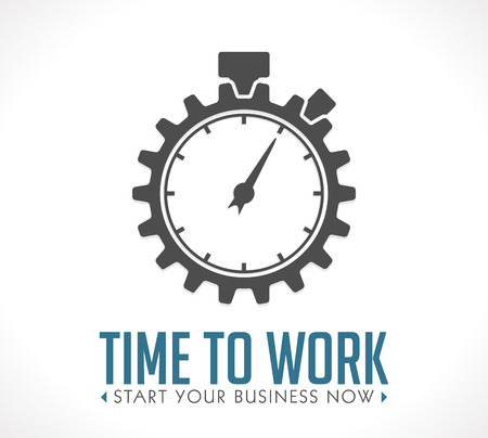 Logo - time to work- start your business now Vettoriali