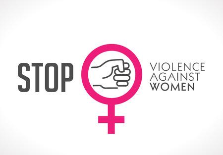 Logo - fermare la violenza contro il concetto di donna - pugno come simbolo di violenza