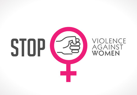 Logo - stop violence against women concept - fist as symbol of violence Çizim