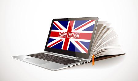 Apprendimento del concetto inglese con la compilazione del libro e del computer portatile. Vettoriali