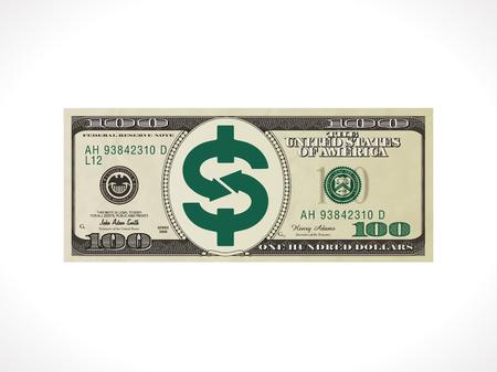 100 ドル - アメリカ合衆国通貨 - お金転送コンセプト  イラスト・ベクター素材